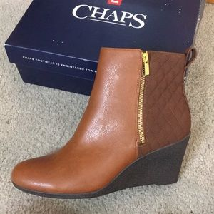 Chaps Zaylee brown heeled booties sz 10 B NWT 90